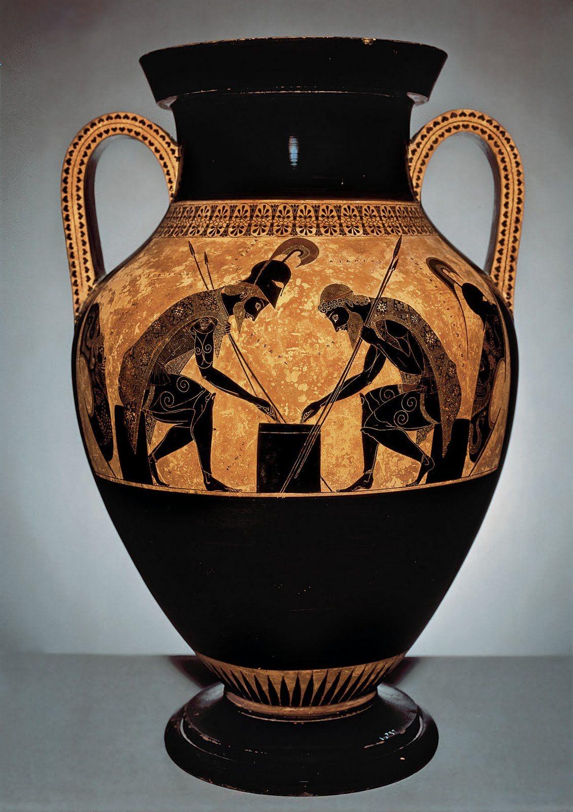 엑세키아즈Exekias가 만든 항아리. 보드게임을 하고 있는 아킬레스와 아작스가 그려져 있다. 기원전 530년 경. Achilles and Ajax playing dice