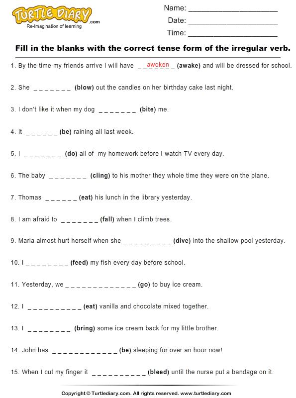 Image result for irregular verbs grade 3 worksheet   Past ...
