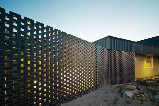 Perforated brick screen carrum downs police station by for Perforated brick wall