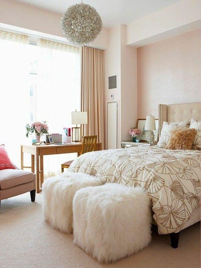 Wanddesign Ideen Schlafzimmer Wandfarbe Hocker