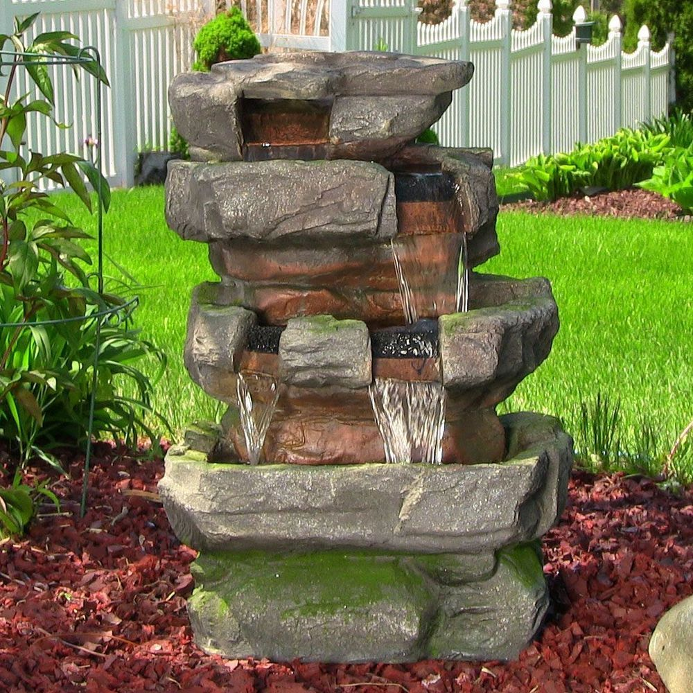 Large Rock Quarry Outdoor Waterfall Water Fountain W/LED Light Yard Garden  Decor