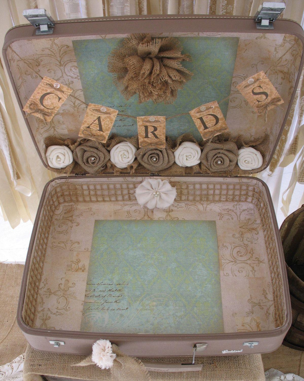 vintage suitcase for wedding card holder