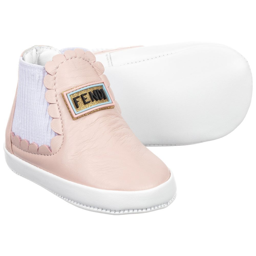 ac021df1 Pink Leather Baby Shoes for Girl by Fendi. Discover more beautiful ...