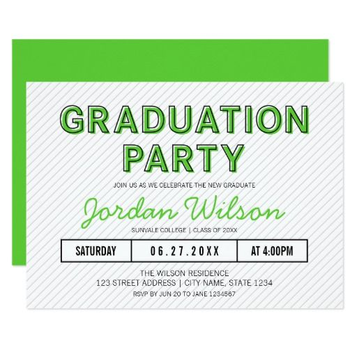 Modern stripes green graduation party invitation by rosewood and explore pink graduation party and more filmwisefo