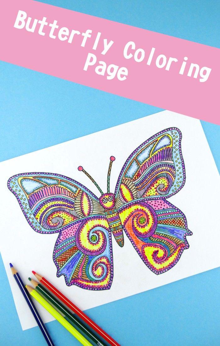 Colorear página de la mariposa para los adultos