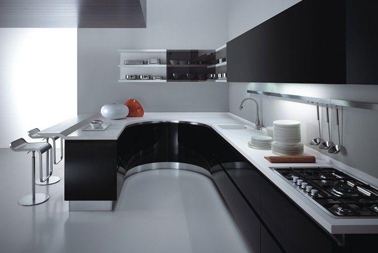 Cocinas Blancas Y Negras 50 Ideas Geniales A Considerar Cocinas - Cocinas-blancas-y-negras