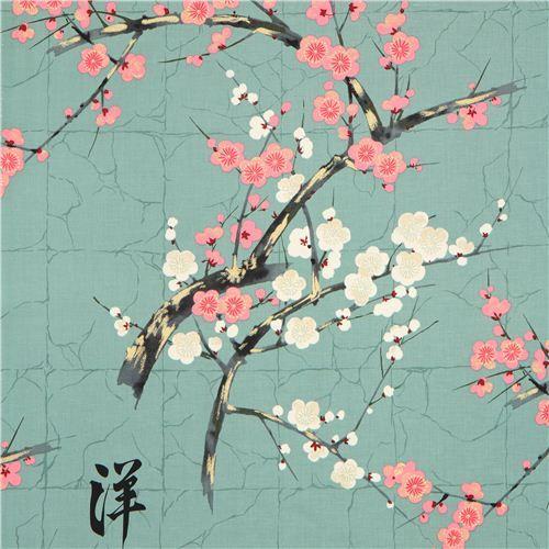 Teal Alexander Henry Japanese Flower Fabric With Gold Japanese Flowers Japanese Embroidery Cherry Blossom Branch
