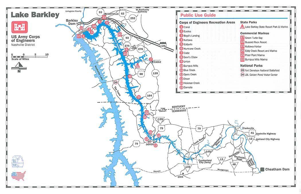 map of lake barkley kentucky Lake Barkley Public Use Guide Map Lake Map State Parks map of lake barkley kentucky