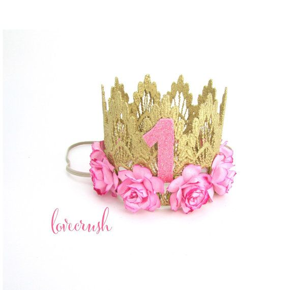 Ready to Ship ||First Birthday|| Sienna crown gold || medium pink flowers lace crown headband || customize ANY AGE|| keepsake box included #crownheadband