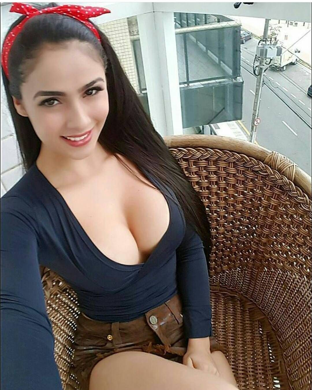 Busty shows cleavage