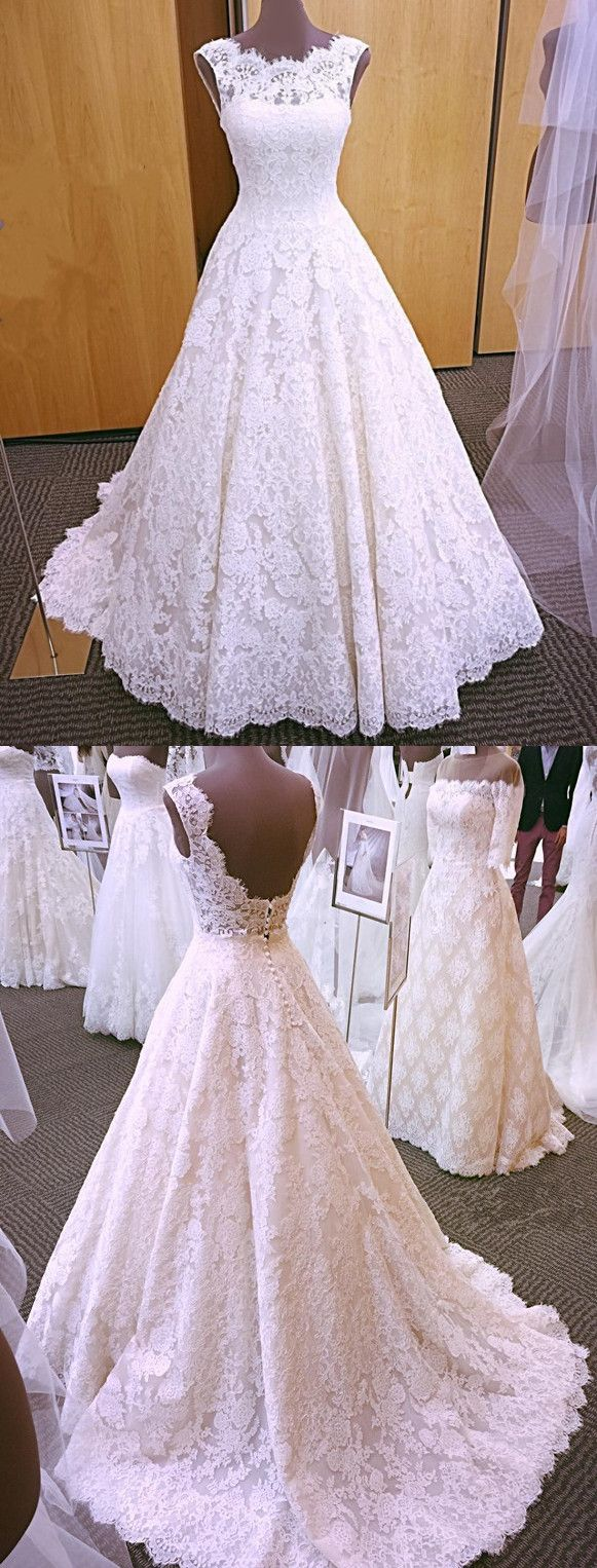 Vintage cap sleeves open back lace wedding dresses modest