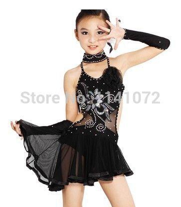Pas cher Fille de danse latine robe Cha Cha   Rumba   Samba   salle de bal    Tango danse vêtements enfant glands robe danse robe enfants Dnace robe 89769ef9352