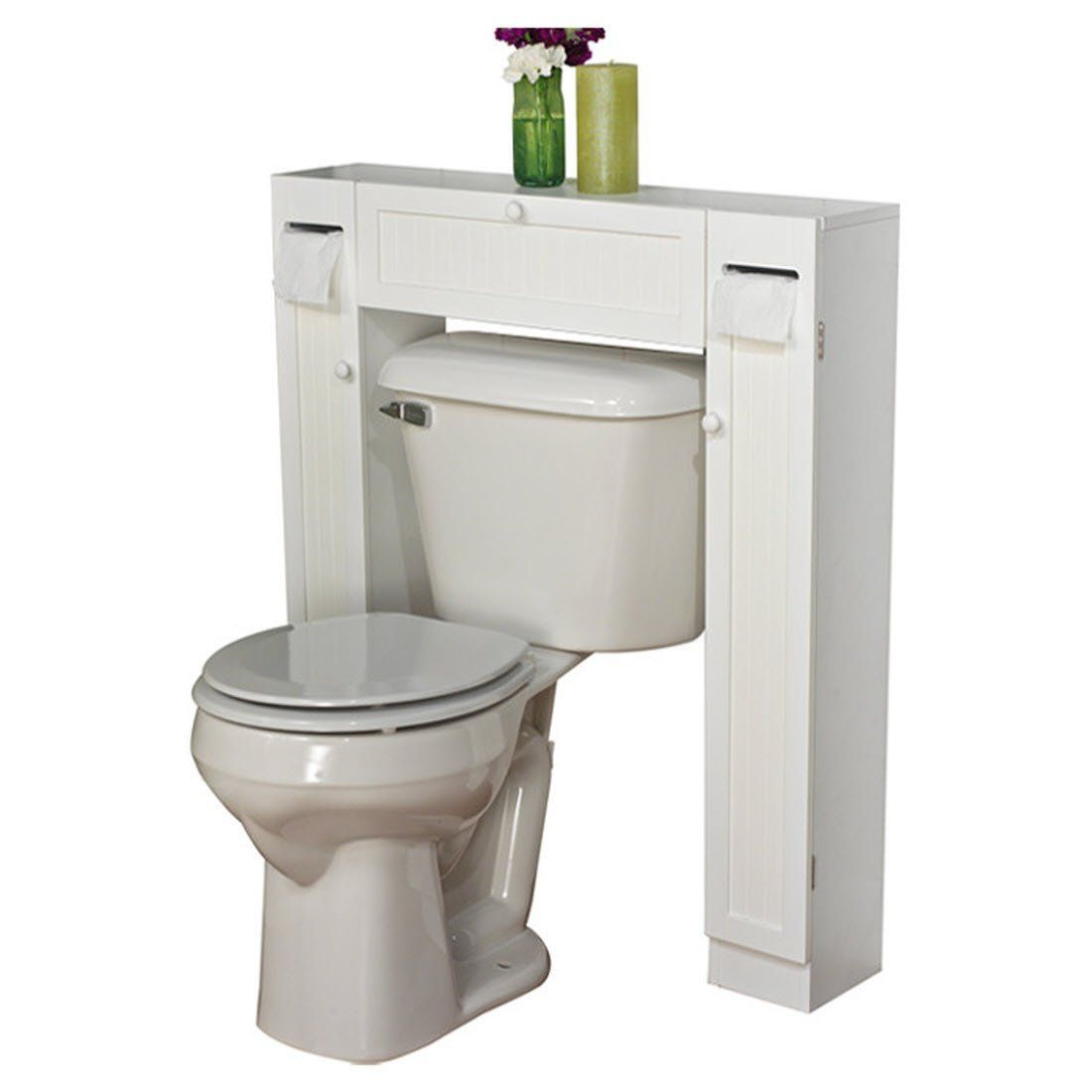 """Amazon.com: 34"""" x 38.5"""" Over the Toilet Cabinet - It Has A White Finish - Constructed from Engineered Wood - It Has One Paper Holder, One Fixed Shelf and Two Adjustable Shelves: Kitchen & Dining"""