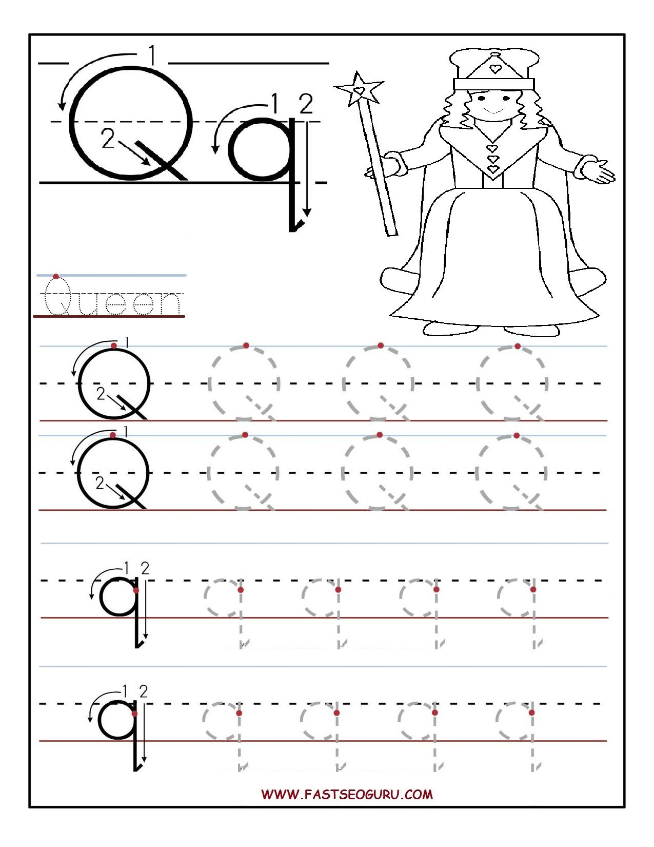 Worksheets Pre K Alphabet Tracing Worksheets printable letter q tracing worksheets for preschool word work preschool