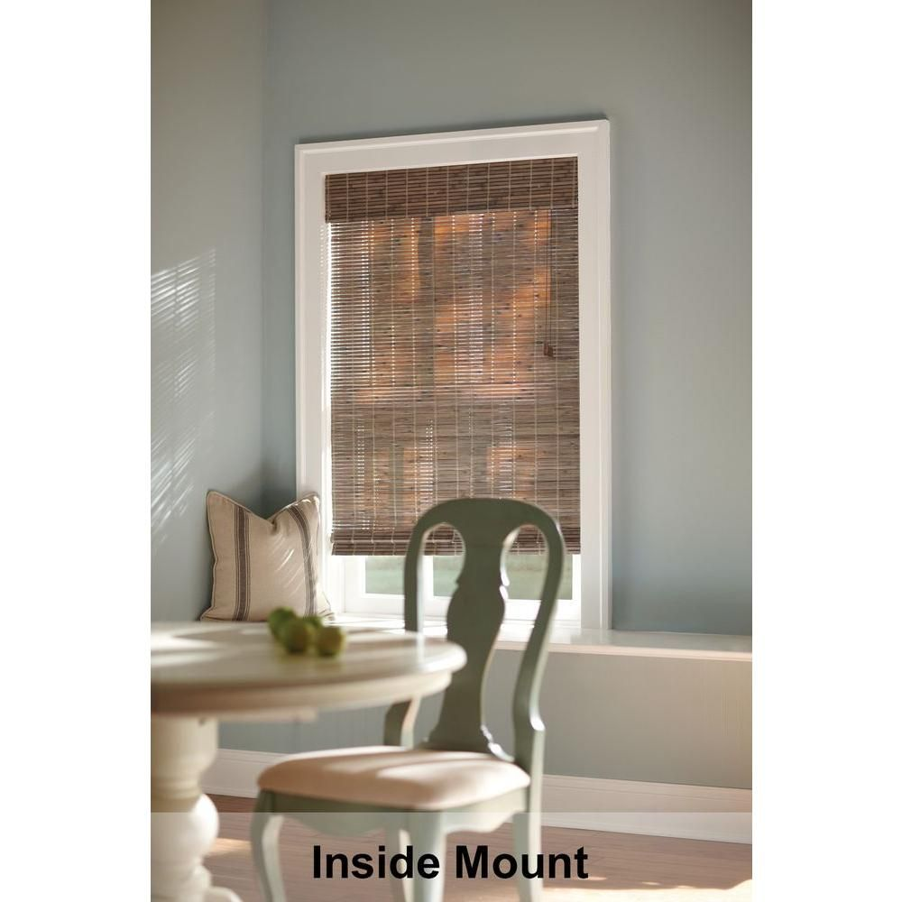 Home Decorators Collection Driftwood Flatweave Bamboo Roman Shade 23 In W X 48 In L Actual Size 22 5 In W X 48 In L 0259662 The Home Depot Bamboo Roman Shades Home Decorators Collection Bamboo Shades