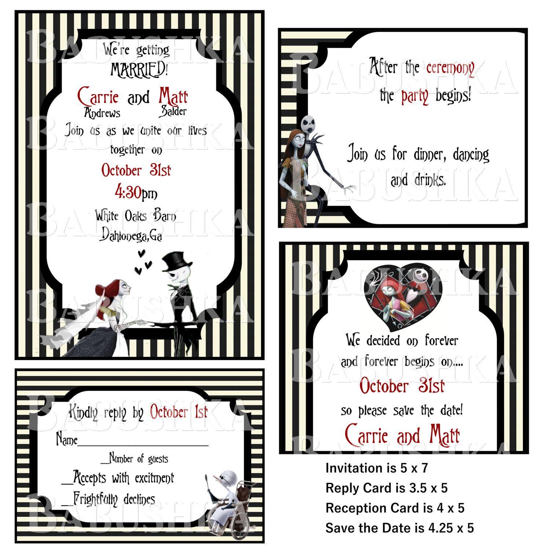 Jack and Sally Wedding Invitation set/ Nightmare Before Christmas ...