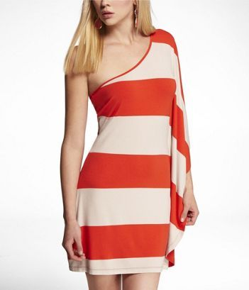Express  Striped one shoulder draped-sleeve dress. If only we had this at our store.