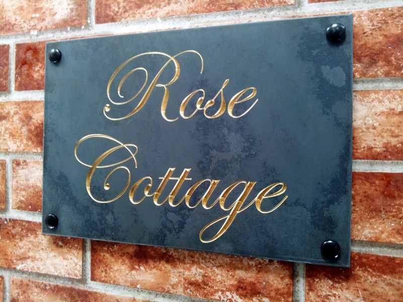 Rose Cottage Engraved Slate Home Signs Shop Signs Name Plaques