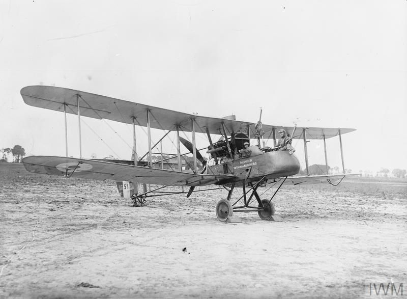 Royal Aircraft Factory F.E.2d reconnaissance biplane of No. 20 Squadron RFC at Sainte-Marie-Cappel, France. Serial number A6516. Crew: pilot Captain Stevens, observer B. C. Cambray. The aircraft has a message displayed on the fuselage reading: 'Presented by the Colony of Mauritius No. 13'