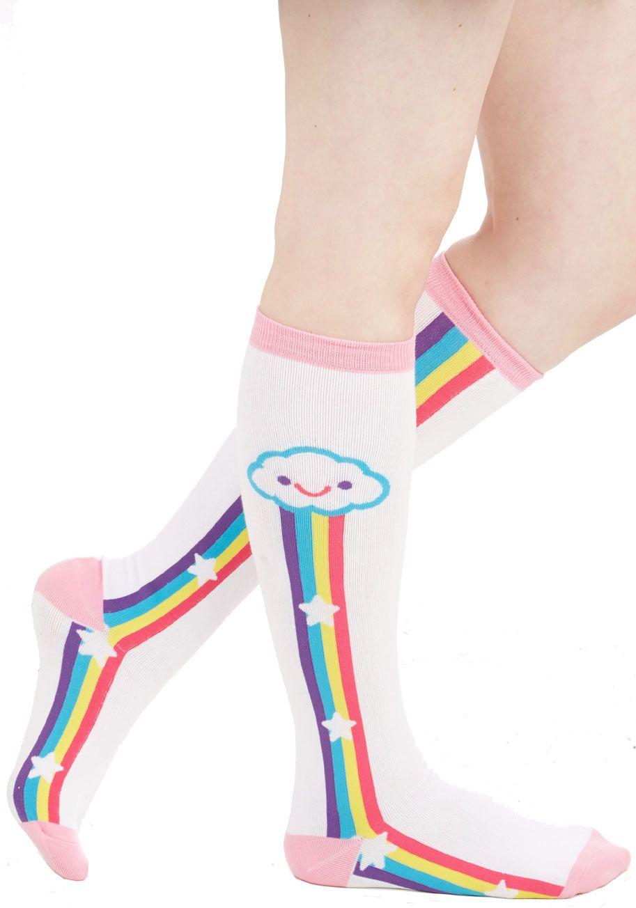 Rainbow on My Parade Socks - Knit, White, Multi, Novelty Print, Kawaii, Quirky, Cotton