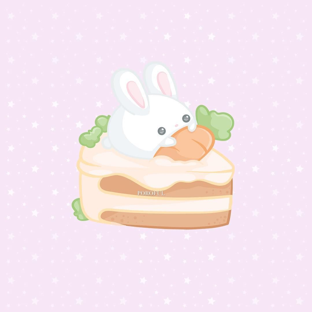 Adorable Easter Bunny On Top Of A Carrot Cake Doodle I Love This
