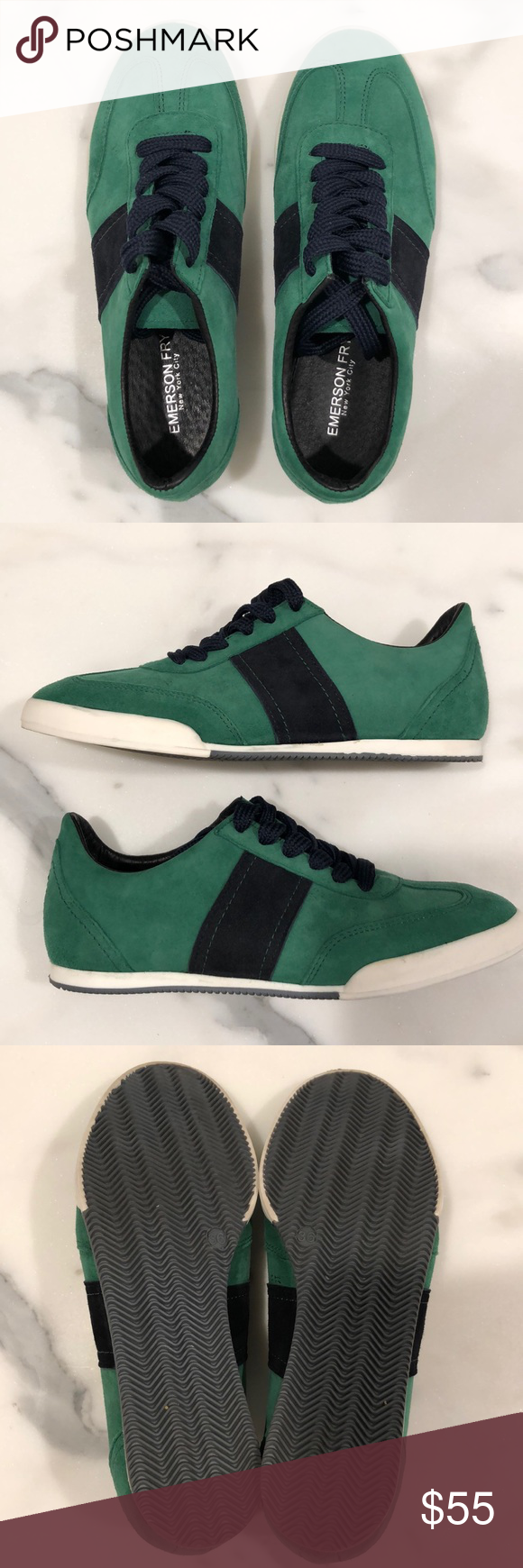 Emerson Fry trainer green / navy suede NWOT sz 36 Beautiful Emerson Fry trainer in green and navy suede leather. Size 36, made in Portugal. These are NWOT. Emerson Fry Shoes Sneakers #emersonfry