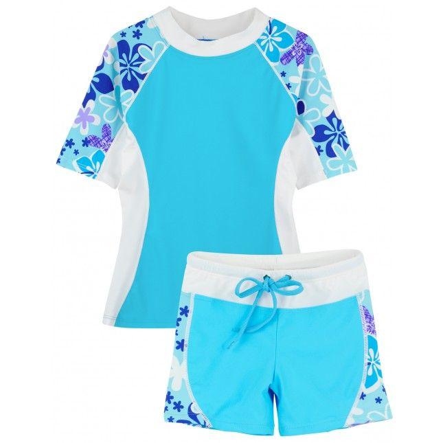 97248acf0e Girl's SEASIDE Set by TUGA in TURQUESA. Short Sleeve Swim Shirt with  Matching Swim Shorts