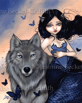Silver Wolf fairy fantasy gothic faery art Jasmine Becket-Griffith CANVAS PRINT