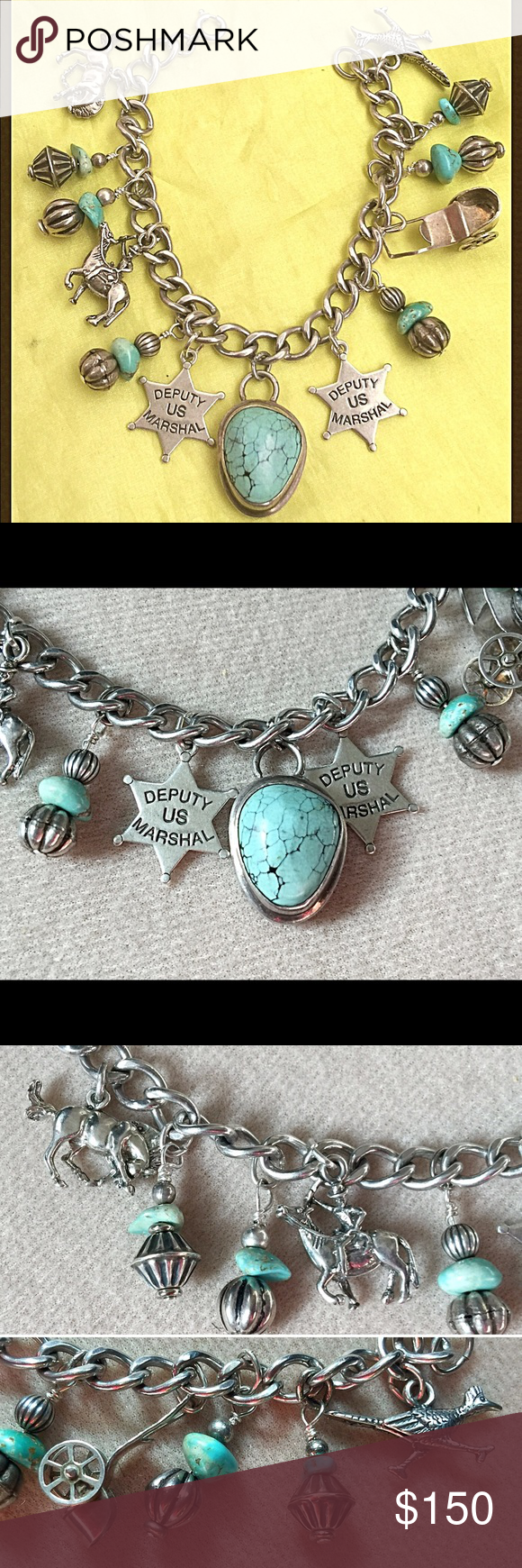 Pretty us deputy turquoise sterling charm bracelet nice turquoise