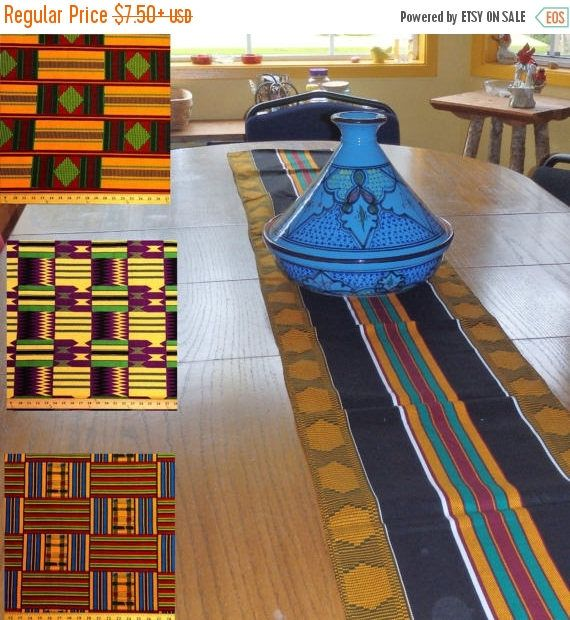 African Kente Print Table Runner, African Table Runner, Kente Table Runner,  Striped Table Runner