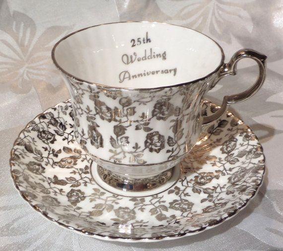Vintage 25th Anniversary Tea Cup  Saucer Royal Windsor Fine Bone China England Rosechintz Heavy Platinum Silver Pristine Condition