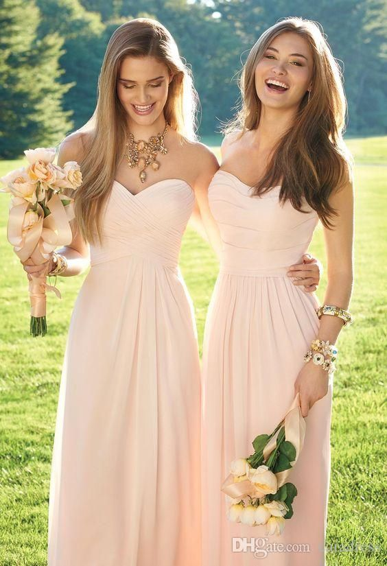 2016 Light Pink Chiffon Bridesmaid Dress Convertible Style Strapless Long Junior Bridesmaid Dresses Mixed Style Country Wedding Party Dress Silver Bridesmaids D Blush Pink Bridesmaid Dresses Blush Bridesmaid Dresses Vintage Bridesmaid Dresses