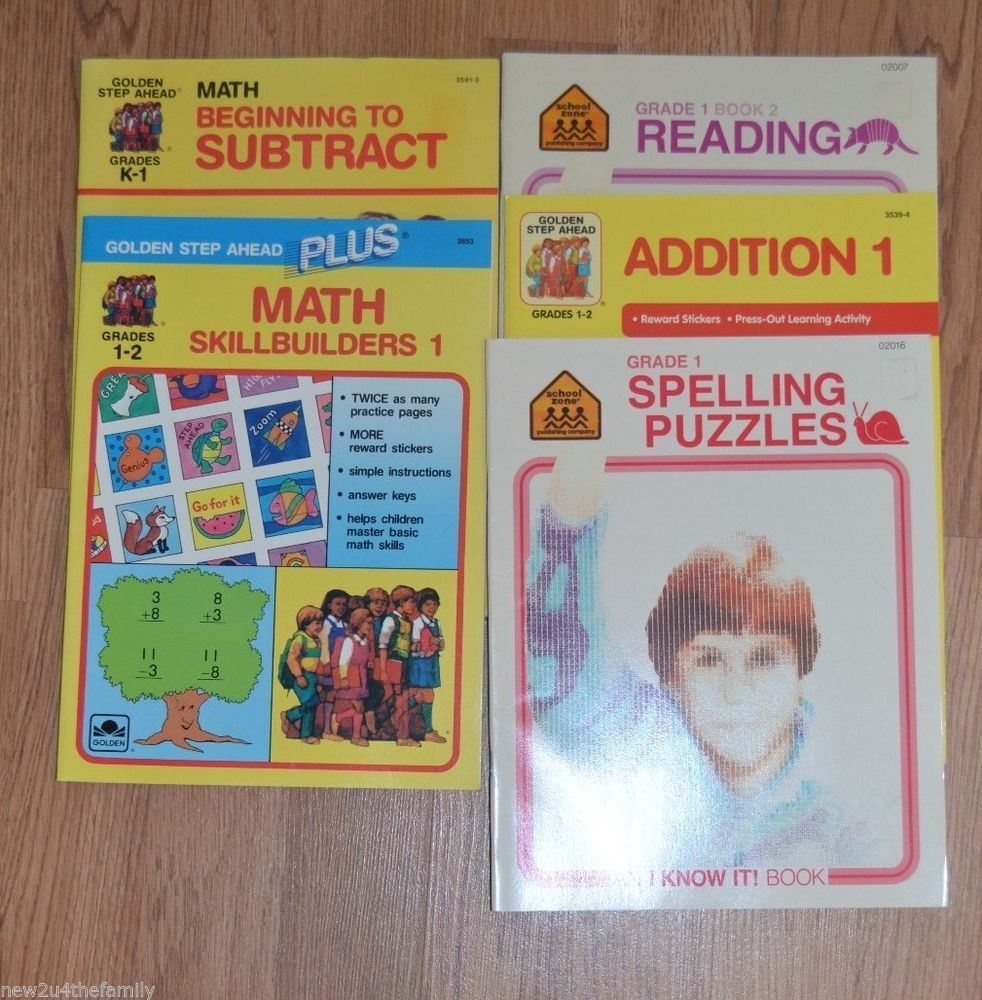 School Workbooks, Grades K-2, Math, English, Reading, Homeschool, Teaching