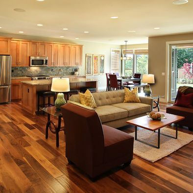 Love The Wood Floors Open Concept Living Room Kitchen Design
