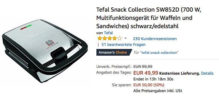 Tefal Snack Collection SW852D Snacks - bosch küchenmaschine profi 67