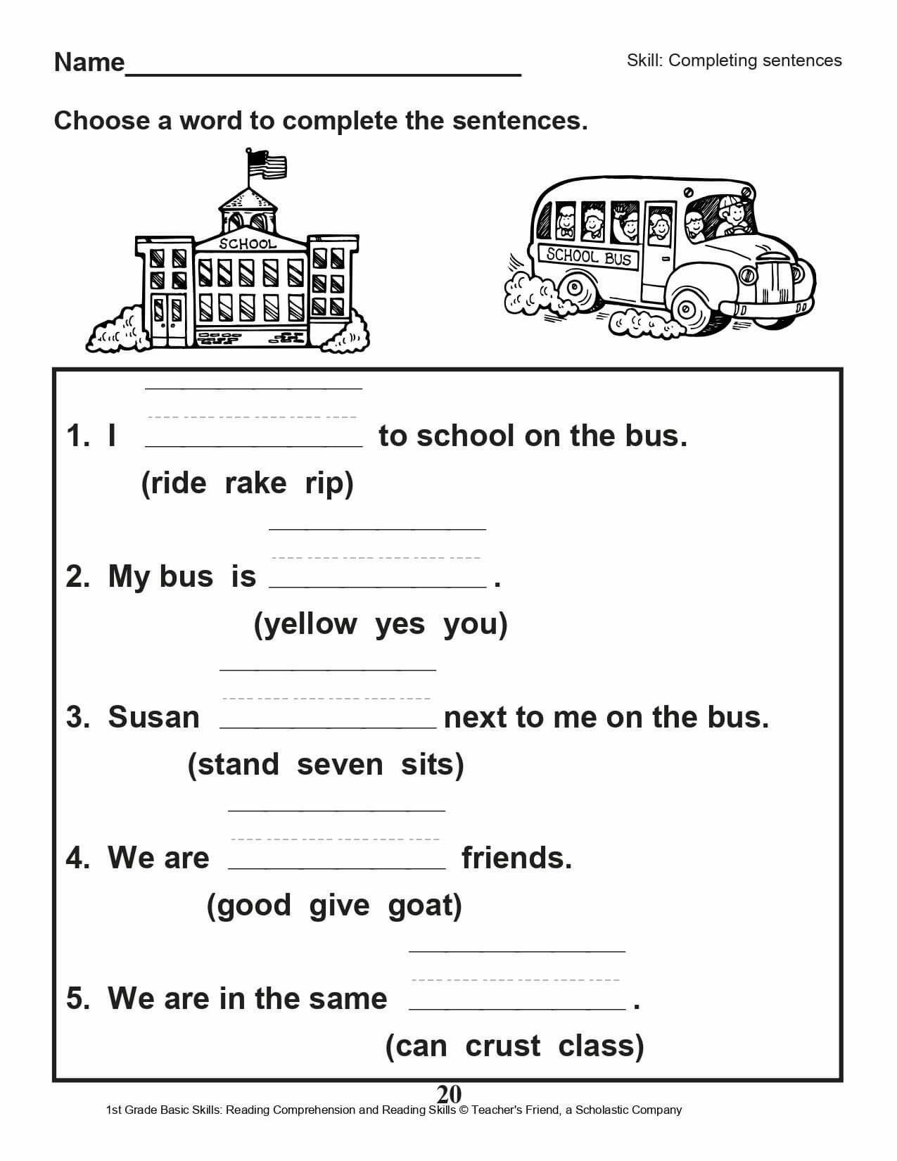 Free pdf basic worksheets for grade1\u00262   Reading comprehension worksheets [ 1650 x 1275 Pixel ]