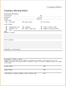 Employee warning notice DOWNLOAD at http://www.templateinn.com/10 ...