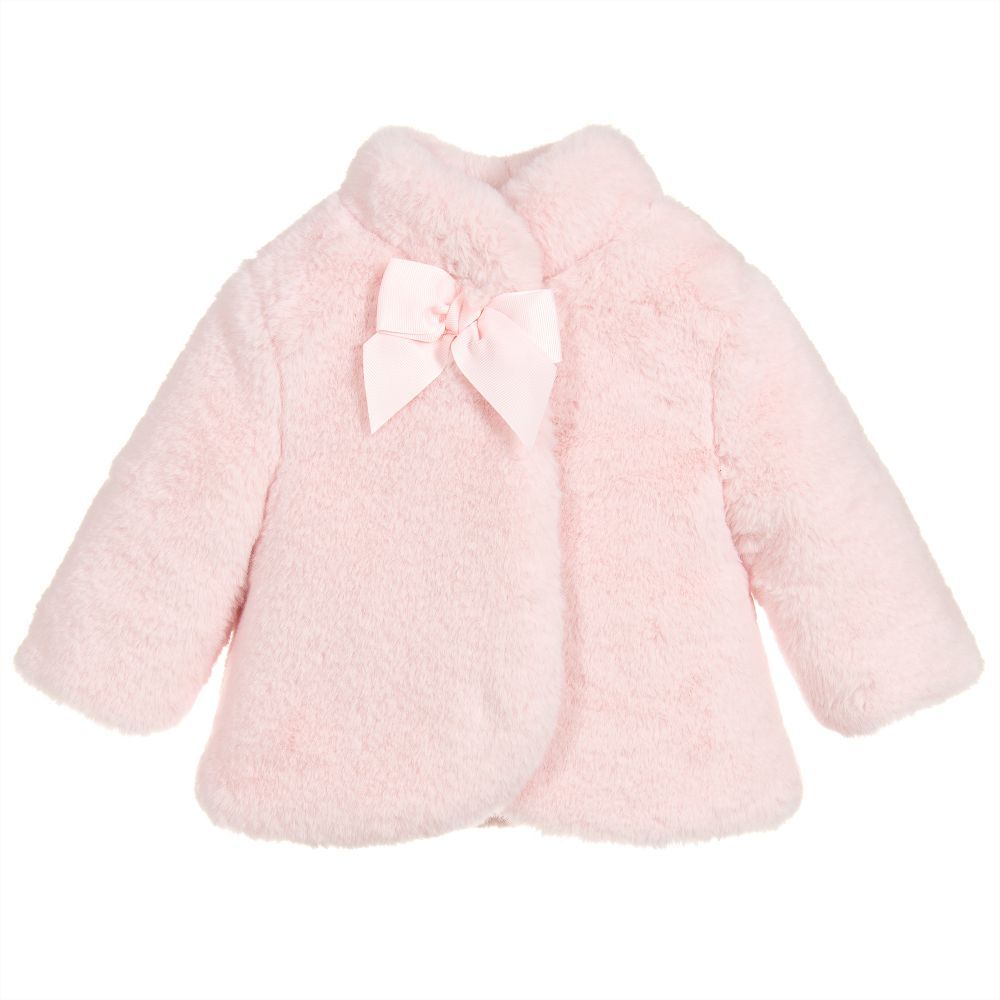 36ab787d2cc2 Baby Girls Pink Fur Jacket for Girl by Mayoral Newborn. Discover more  beautiful designer Coats   Jackets for kids online at Childrensalon.co.