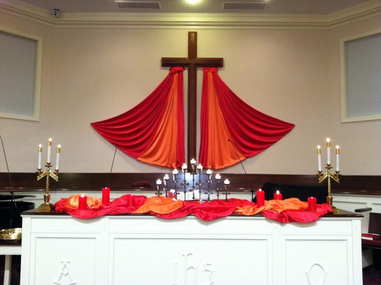 Love this pentecost idea and several others church for Altar wall decoration