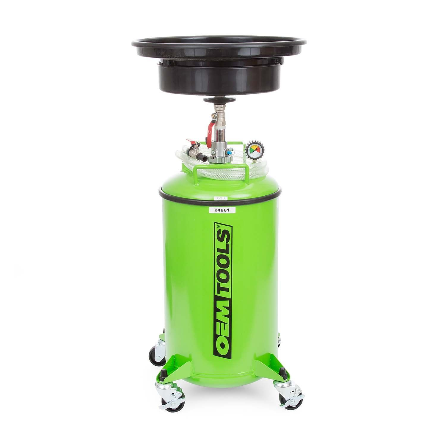 Oem Tools 24861 21 Gallon Oils Drain Green Pressurized Automotive Fluid Changing Tool Can Service 12 20 Vehicles Per Full Tank Easy E Oils Motor Oil Gallon