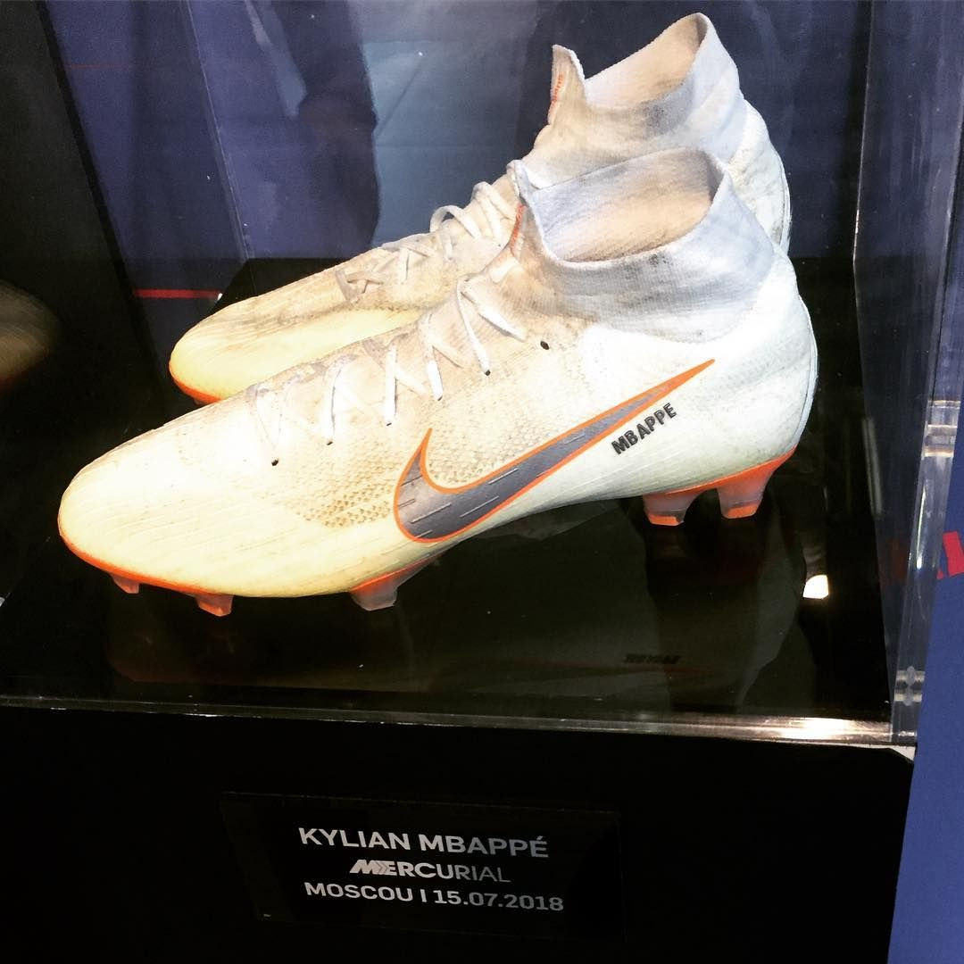 510f592c52ae Mbappés soccer shoes at the World Cup Final match against Croatia (this  year.) Exposed at Nike Store on Champs Elysées! #mbappe #allezlesbleus  #worldcup2018 ...