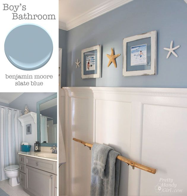 Benjamin Moore Slate Blue   The color of Jeff   Heather s entry hall   Seaside Theme Bathroom Refresh. Bathroom   Benjamin Moore Slate Blue   Pretty Handy Girl   Coastal