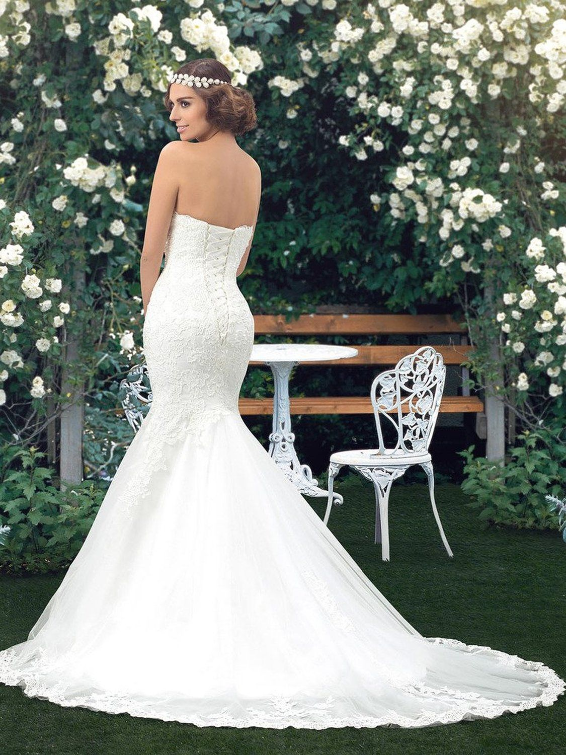 27eedeba865a $189.99 Bridess Women's Sweetheart Tulle Mermaid Wedding Dress for Bride at Amazon  Women's Clothing store: