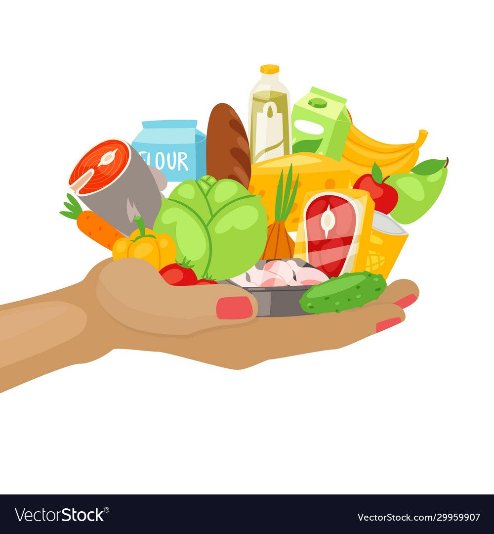 Daily Menu Products Meal For Every Day Healthy Food On Hand Cartoon Vector Illustration Vegetables Fish Br Healthy Food Art Food Cartoon Food Illustrations