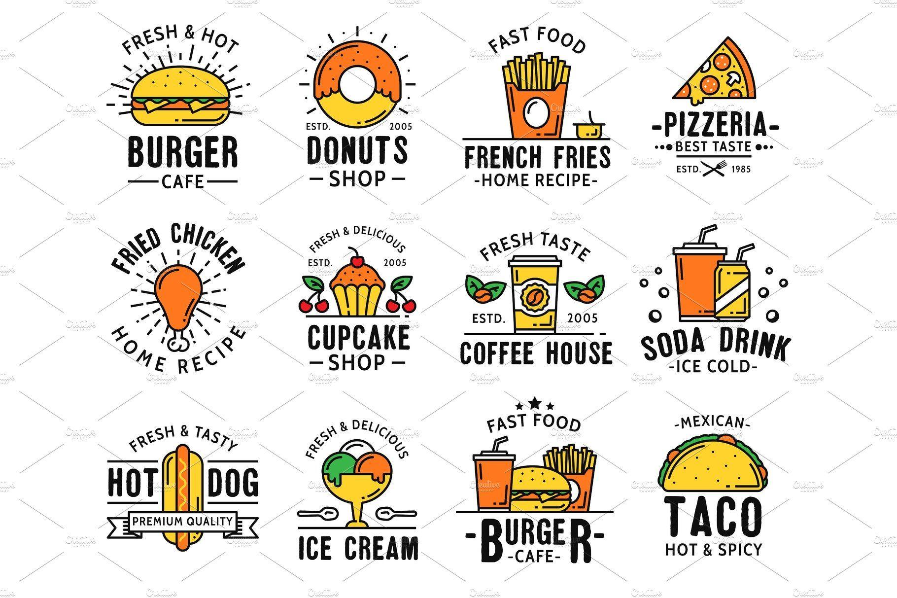 Fast food menu and takeaway icons Fast food menu, Food