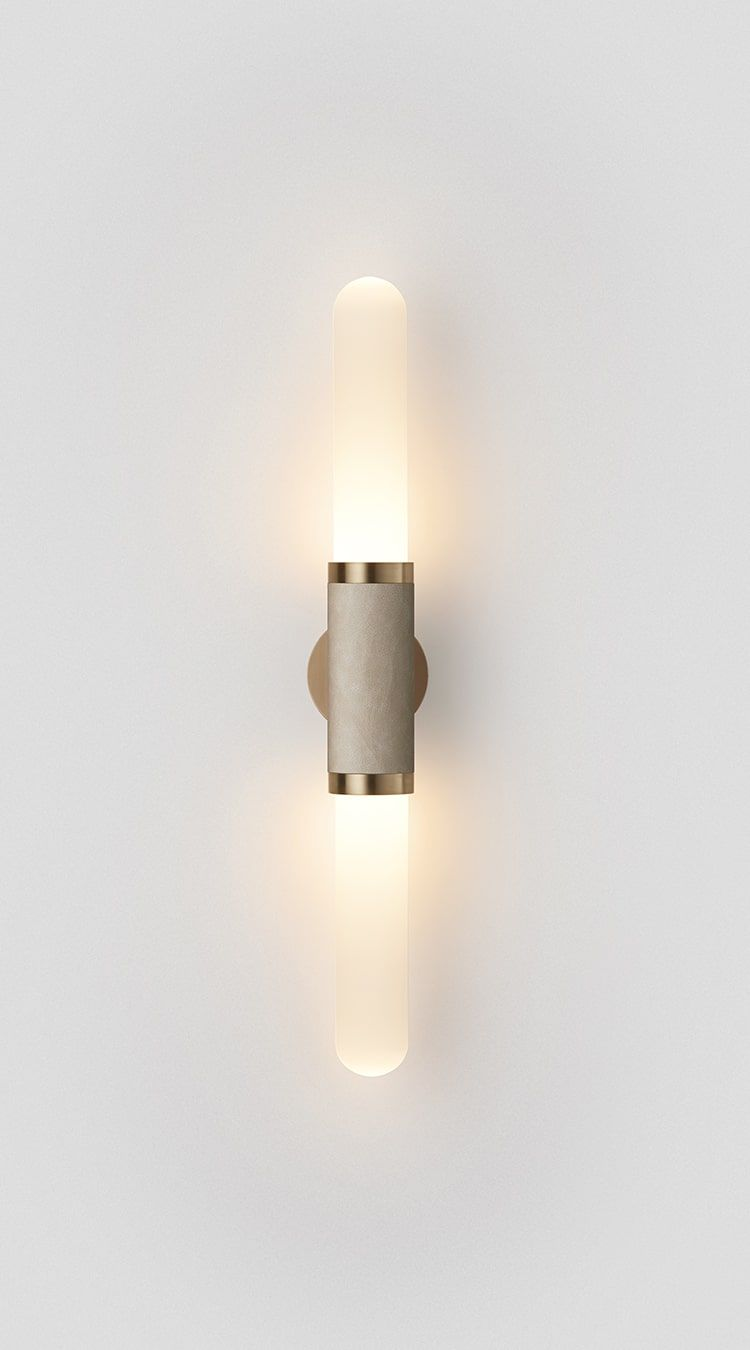 Scandal Wall Sconce Short White Frost Glass Leather Articolo Sconces Wall Sconces Glass Wall Lights