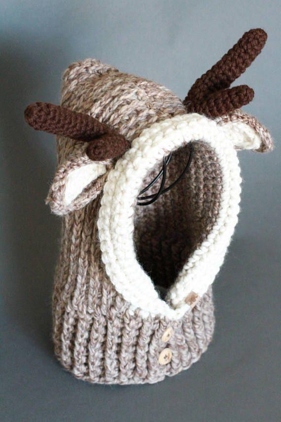 Crochet Cowl PATTERN Hooded Reindeer Cowl Crochet Hooded Cowl ...