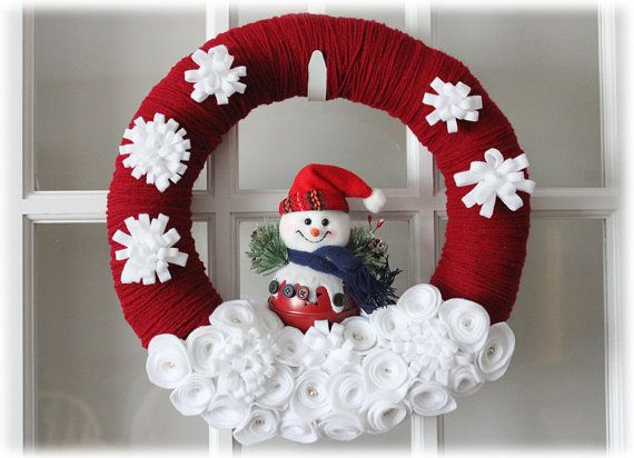 Reserved Snowman Winter Yarn Wreath Burgundy Red White Home Decor Christmas Crafts Decorations Christmas Mesh Wreaths Snowman Decorations