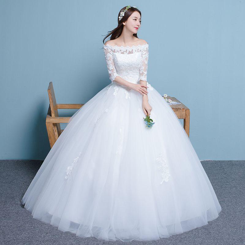Elegant  new Korean word wedding dress spring Slim simple big wedding dress bride princess Qi Di