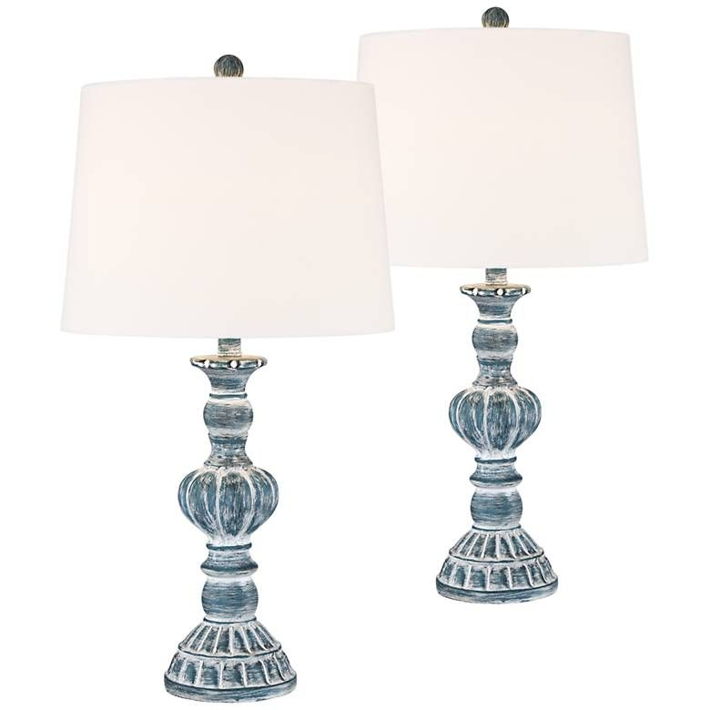 Tanya Blue Wash Table Lamp Set Of 2 55m20 Lamps Plus Table